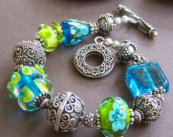 Marina - Lampwork Glass Bead with Ornate Sterling Silver Bracelet