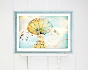 Ride the Sky // Extra Large Print // Large Photography with watercolor look Carnival Ride at Coney Island Brooklyn // Modern Kids Nursery