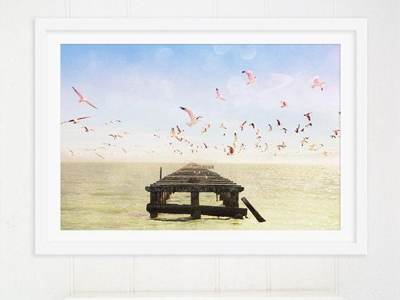 Large Wall Art // Nautical Decor // Ocean Seaside // Abandoned Pier // Seagull Print // Modern Art Print Living Room Art - Berkeley Marina