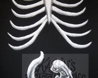 Alien Xray Maternity Tee Shirt Hand Painted - Please read item description