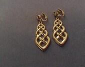 Gold Tone Avon Dangle Clip Earrings