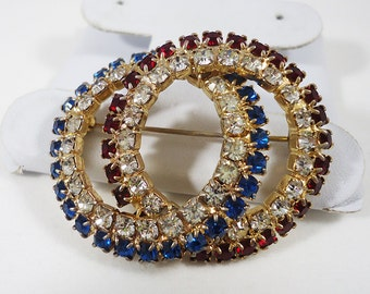 Red White and Blue Infinity Rhinestone Brooch Pin Vintage