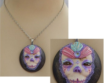 Sugar Skull Face Pendant Necklace Handmade NEW Polymer Clay Day of The Dead Mixed Media Accessories
