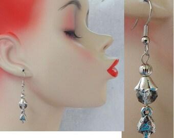 Silver Toadstool Charm Drop/Dangle Earrings Handmade Hook Beaded Fashion Fantasy