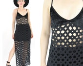 30% OFF SALE 90s Black Cut Out Mesh Dress Sheer Fishnet Holey Dress Goth Velvet Tank Dress Sexy Fetish Beach Swim Coverup Bodycon (S/M)