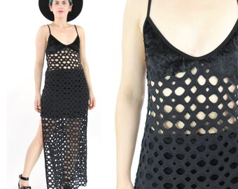 90s Black Cut Out Mesh Dress Black Sheer Fishnet Holey Dress Goth Velvet Tank Dress Sexy Fetish Beach Swim Coverup Bodycon (S/M)