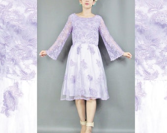 25% OFF SALE Sheer Floral Lace Dress Light Purple Dress Vintage Bridesmaid Dress Bell Sleeves Embroidered Long Sleeve Dress Lavender (S)