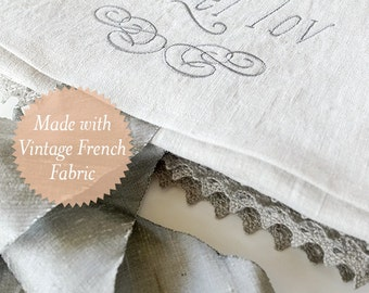 Cherished Heirloom Set: Vintage French Fabric Embroidered Heirloom Mazel Tov Pouch & Challah Cover