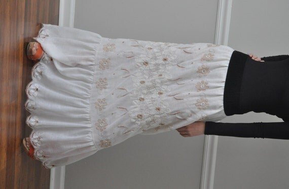 Ivory Beige Embroidered Cotton Scalloped Eyelet Ruffle Trim, Long Skirt, Size S - 3XL.
