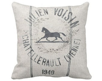 Pillow Cover Vintage Equestrian Decor Horse Pillow Cover Grain Sack Style Pillow