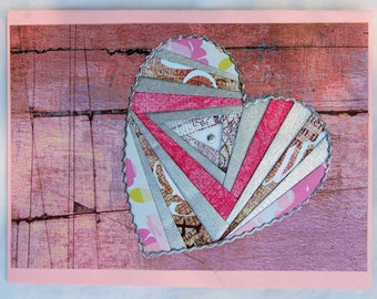 HEART - LoVe, GIRLY Meets Rustic- OOAK Handmade Framable Art Greeting Card-Iris Paper Folding - Cabin Chic Pink - Metallic Silver Accents