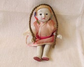Adorable Antique 1940's Small Jointed Porcelain Asian Child Doll from Occupied Japan ~ Sweetest Face Ever ~ Painted Porcelain Doll ~