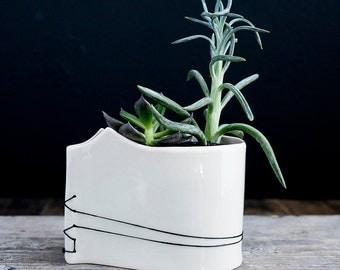 Hand-Built Porcelain Planters // Stitched Design