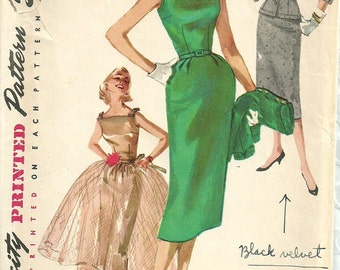 Simplicity 1232 / Vintage 50s Sewing Pattern / Sheath Dress Jacket Overskirt / Size 13 Bust 31