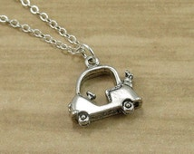 Golf Cart Necklace, Silver Golf Cart Charm on a Silver Cable Chain