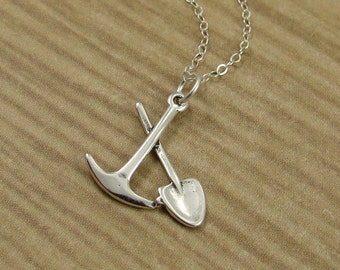Pick and Shovel Necklace, Sterling Silver Pick and Shovel Charm on a Silver Cable Chain