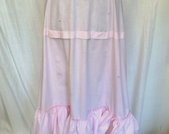 Vintage Victorian Pink Ruffled Cotton Petticoat Skirt As Found