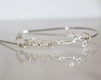 Silver Lily Vine - Simple Silver Floral Vine Headband