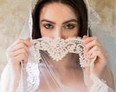 Garland, Mantilla Veil, Lace Mantilla Veil, Ivory Mantilla Veil, Bridal Veil, Wedding Veil, Cathedral Veil, Chapel Veil, Ivory Wedding veil