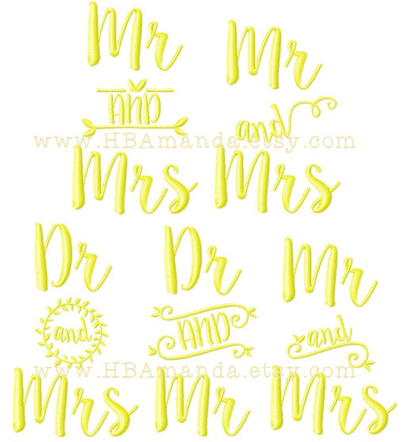 Items similar to calligraphy mr mrs dr quot and monogram
