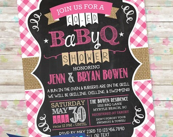 BBQ Baby Shower Invite, BabyQ Shower, Printable Baby Shower Invite, Backyard Baby Shower, Baby Girl, Pink, bun in the oven, burlap invite