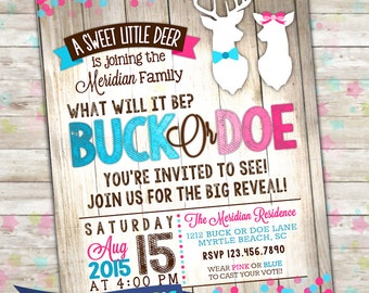Buck or Doe Gender Reveal, Deer Gender Reveal Party Invitation, Printable Invite, Pink or Blue, Girl or Boy, Sex Reveal, Gender Reveals