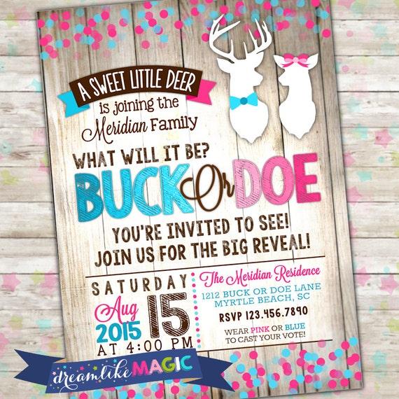 Buck or Doe Gender Reveal Deer Gender Reveal Party – Reveal Party Invites