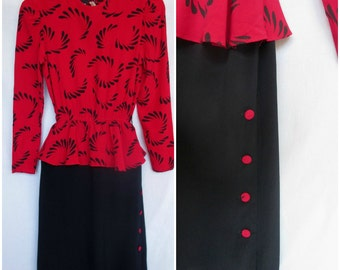 1970s does 1940s Dress, Lipstick Red Black, Peplum, Extra Small
