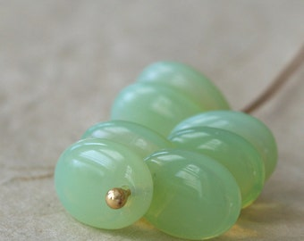 Czech Glass Beads - Milky Peridot Glass Flat Oval - Top Drilled Oval Bead - Jewelry Making Supply - 12x9mm (25 pieces)