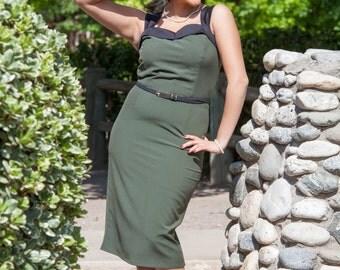 On Sale !! Pinup Army Green  Wiggle Dress
