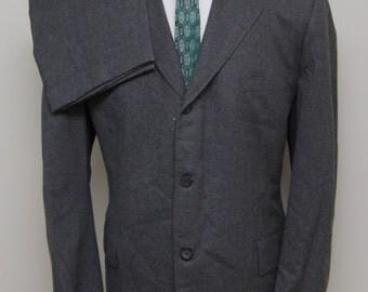 1970s men's grey flannel wool 2 piece suit/ 70s men's grey flannel 2 piece suit/ Herbst Detroit