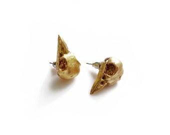 Bird Skull Earrings, Bird Stud Earrings, Gold Raven Earrings