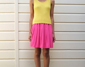 Vintage Knit 1980's Yellow Cotton Ribbed Scoop Neck Sleeveless Tank Top S
