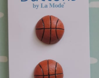 Basketball Buttons by La Mode Hand Painted Carded Set of 2 Style 1459