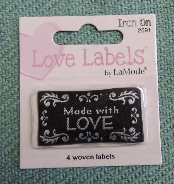 Labels Made with Love Labels Package of 4 Woven Labels by La Mode Style #2591