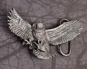 Owl Belt Buckle - Owl Buckle - Pewter Belt Buckle - Silver Belt Buckle