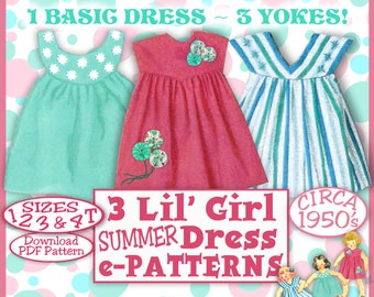 E-Z Darlin Little GIRL Summer Dress Vintage 50s e-Pattern - 3 Different Yokes - 4 Sizes 1-4T Easy Download Pdf PatternA
