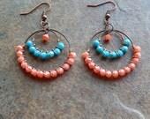 Wire wrapped hoop earrings coral and light turquoise beaded hoop chandelier statement earrings bohemian style gypsy hoop earrings