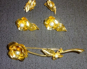 1950s goldtone and pearl rose brooch with matching earrings and extra pair lot