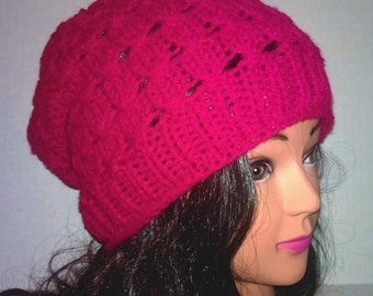 Women's Fashion, Winter Fashion, Knitted Hat, Womens Slouchy, Textured Beanie, Winter Hat, Womans Hat, Custom Color Beanie, Pink Purple Red