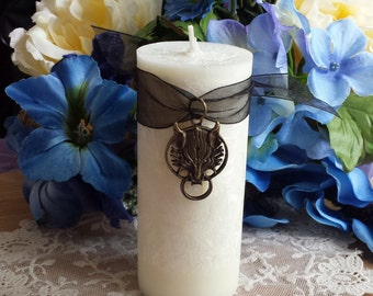 Werewolf Pillar Candle, Halloween Pillar Candle, Wolf Candle, Wolf Charm