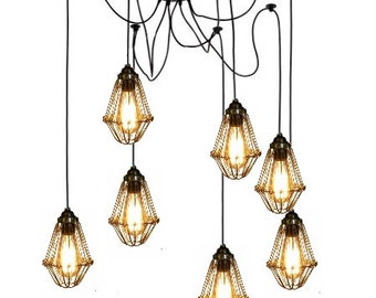 7 Cage Custom vintage style Swag Pendant Chandelier Any Colors Edison Bulb Guard Modern lighting Industrial Hanging Rustic Ceiling Fixture