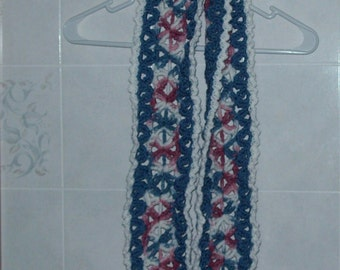 Women's Mile A Minute Scarf Crochet Scarf Multi Colored Scarf Extra Long Scarf  Blue Pink White Scarf