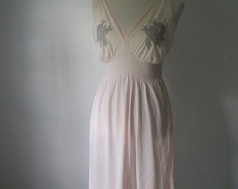 1960s Pink Slip Dress with Gray Floral Detail - Petalskin by Van Realte