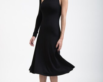 Women's Black Dress One Shoulder Sleeve A Line Midi Dress / Party Dress / LBD / marcellamoda - MD004