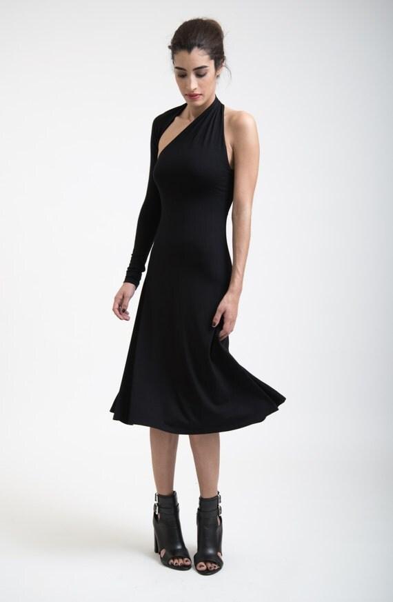 Women's Black Dress One Shoulder Sleeve A Line Midi Dress / Party Dress / LBD / marcellamoda - MD004