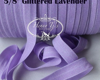 "5/8"" Frosted GLITTER Lavender Stretch Elastic Band Trim, foe Fold Over Elastic, DIY Hair Accessories -Elastic Hair Ties Headband Supplies"