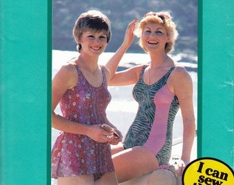 Knitwit 5600 Womens One Piece Swimsuits Princess Seam Bathing Suit Optional Skirt 70s Vintage Sewing Pattern Sizes 6 - 22 UNCUT Factory Fold