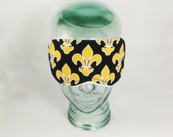 Fleur De Lis Sleep Mask Black Gold Eye Shade Louisiana Blindfold New Orleans accessory travel airplane vacation gift woman Wedding French