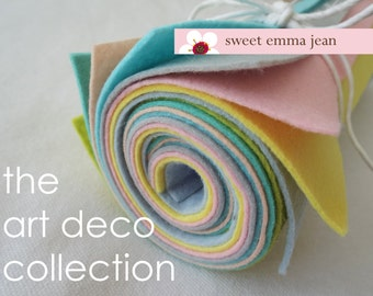 9x12 Wool Felt Sheets - The Art Deco Collection - 8 Sheets of Blue Felt